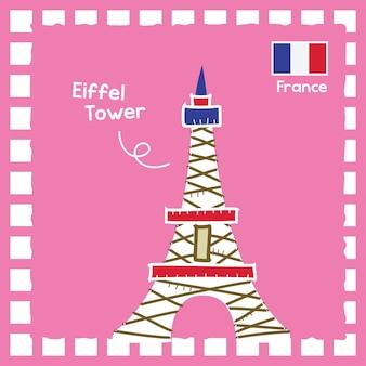 귀여운 스탬프 디자인으로 프랑스 에펠 탑 랜드마크 그림