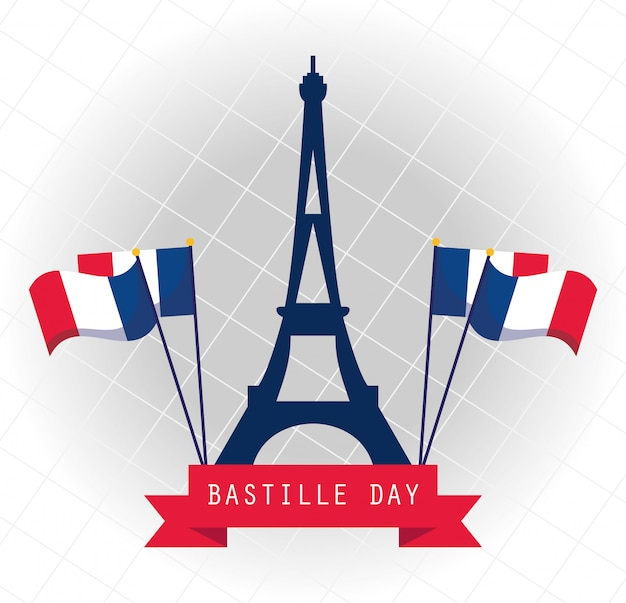 France eiffel tower with flags of happy bastille day design