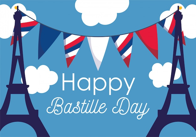 France eiffel towers with banner pennant of happy bastille day