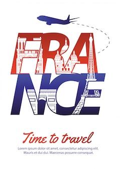 France famous landmark silhouette style