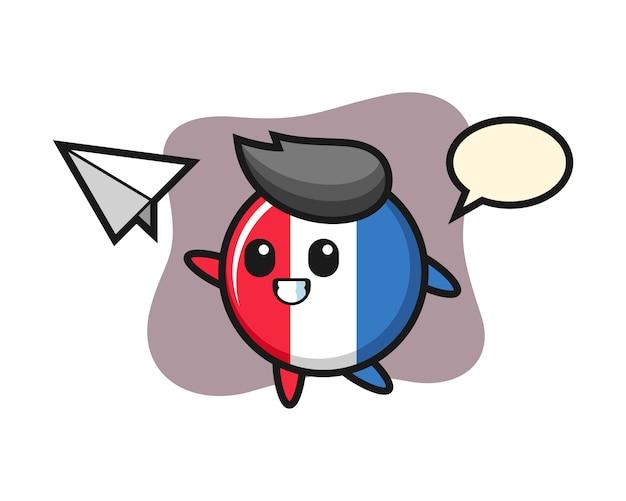 Значок флага франции мультипликационный персонаж бросает бумажный самолетик