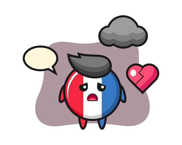 Иллюстрация шаржа значка флага франции разбитое сердце