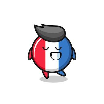수줍은 표정을 가진 프랑스 국기 배지 만화 그림, 티셔츠, 스티커, 로고 요소를 위한 귀여운 스타일 디자인