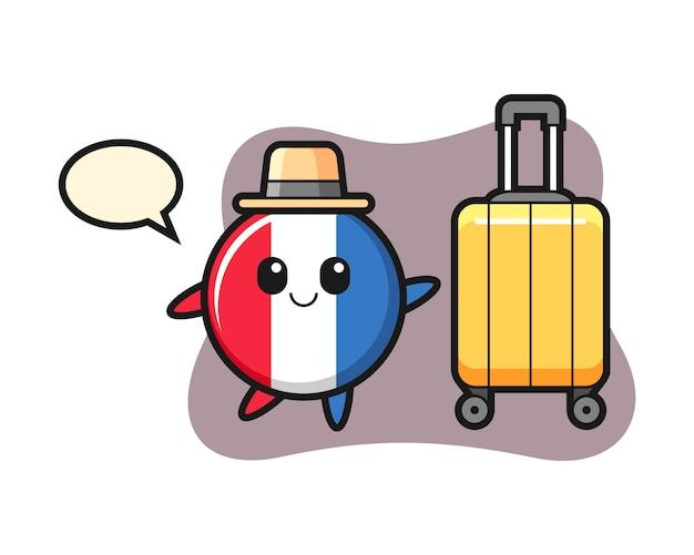 France flag badge cartoon illustration with luggage on vacation