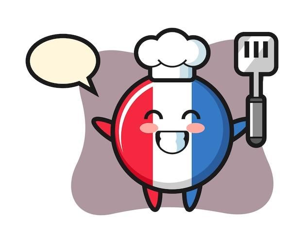 요리사로 프랑스 국기 배지 캐릭터 일러스트 요리