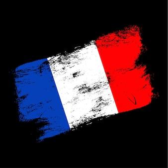 Фон кисти гранж флаг франции. старый флаг кисти векторные иллюстрации. абстрактное понятие национального фона.
