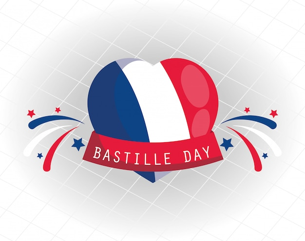 France flag heart with ribbon of happy bastille day design