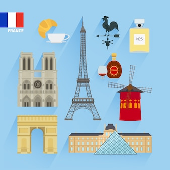 France flag and paris landmarks