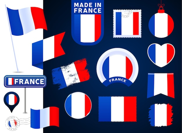 France flag vector collection. big set of national flag design elements in different shapes for public and national holidays in flat style. post mark, made in, love, circle, road sign, wave