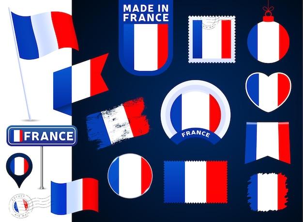 프랑스 국기 벡터 컬렉션입니다. 평평한 스타일의 공휴일과 공휴일을 위한 다양한 모양의 국기 디자인 요소의 큰 집합입니다. 소인, 만든, 사랑, 원, 도로 표지판, 파