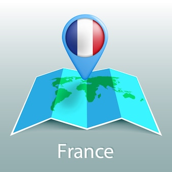 Карта мира флаг франции в булавке с названием страны на сером фоне