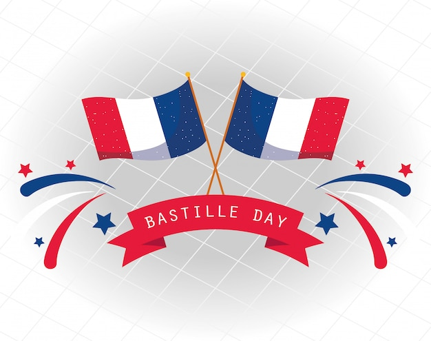 France flags with ribbon of happy bastille day design