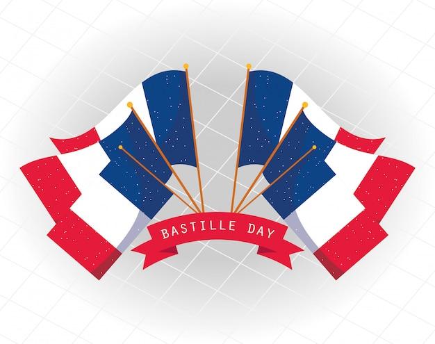 幸せなフランス革命記念日のデザインのリボンとフランスの旗