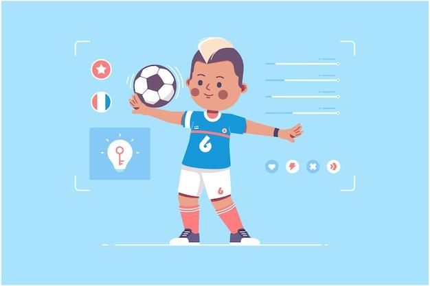 フランスのサッカー選手のかわいいキャラクターデザイン