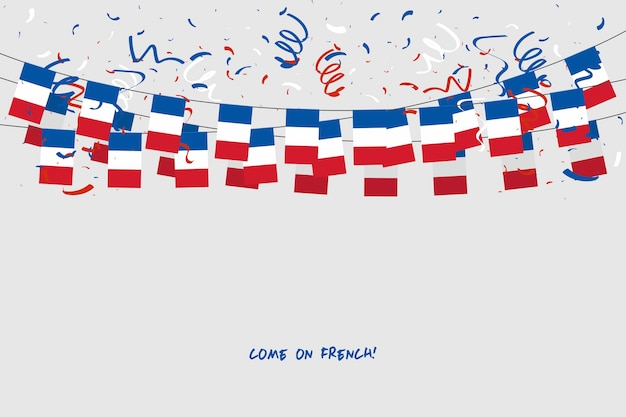 France garland flag with confetti on gray background.