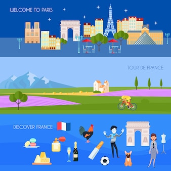 France horizontal banners set with paris symbols flat isolated vector illustration