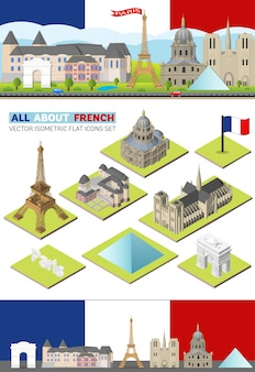 France isometric travel famous landmarks.