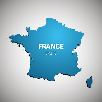 グラデーションの背景に分離されたフランスの地図