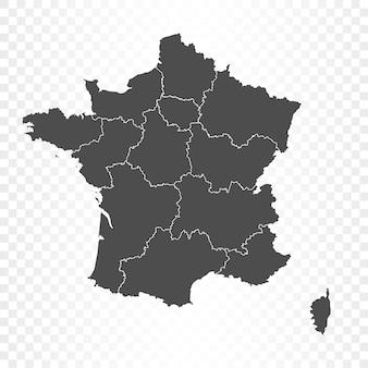 透明に分離されたフランスの地図