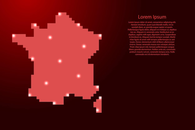 붉은 사각형 픽셀과 빛나는 별에서 프랑스 지도 실루엣. 벡터 일러스트 레이 션.