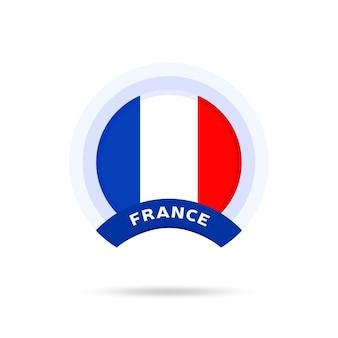 프랑스 국기 원형 버튼 아이콘입니다. 간단한 깃발, 공식 색상 및 비율이 정확합니다. 평면 벡터 일러스트 레이 션.