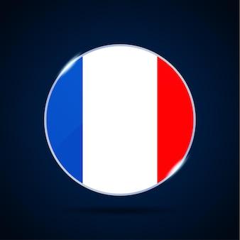 Национальный флаг франции значок кнопки круга. простой флаг, официальные цвета и правильные пропорции. плоские векторные иллюстрации.
