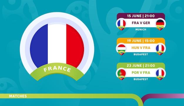 フランス代表チームのスケジュールは、2020年のサッカー選手権の最終段階で試合を行います。サッカー2020の試合のイラスト。