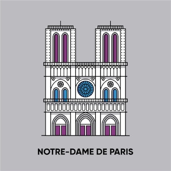 France, notre-dame de paris,   travel illustration, flat icon