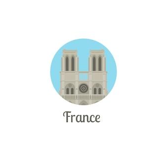 France notre dame landmark round icon