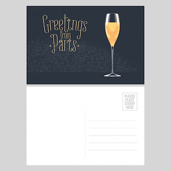 France, paris postcard design with glass of french champagne. template illustration, element, nonstandard mail postcard with copyspace, post office stamp and greetings from paris sign
