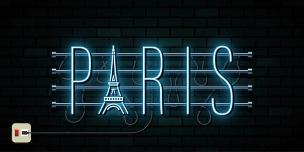 France and paris travel and journey neon light background