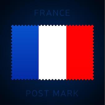 프랑스 우표. 국기 우표 흰색 배경 벡터 일러스트 레이 션에 고립입니다. 공식 국가 국기 패턴과 국가 이름이 있는 스탬프
