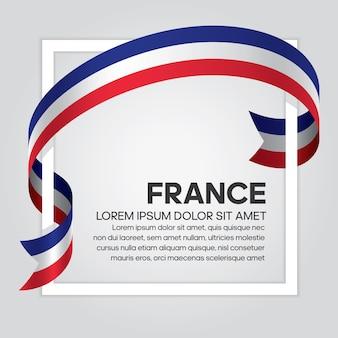 フランスのリボンの旗、白い背景の上のベクトル図