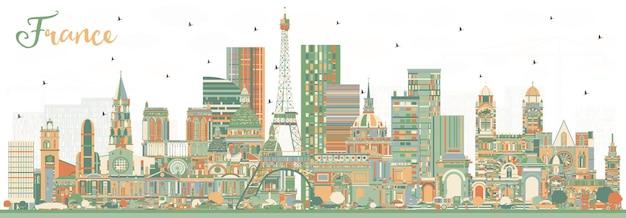 컬러 건물이 있는 프랑스 스카이라인. 벡터 일러스트 레이 션. 역사적인 건축과 관광 개념입니다. 랜드마크가 있는 프랑스 풍경입니다. 툴루즈. 파리. 리옹. 마르세유.