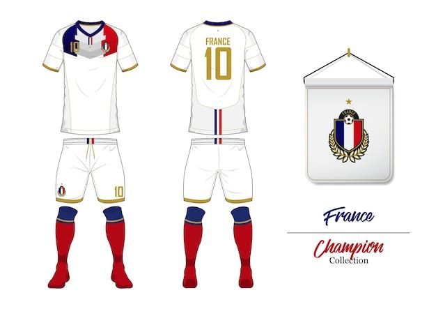 フランスサッカーユニフォームまたはサッカーキットモックアップ