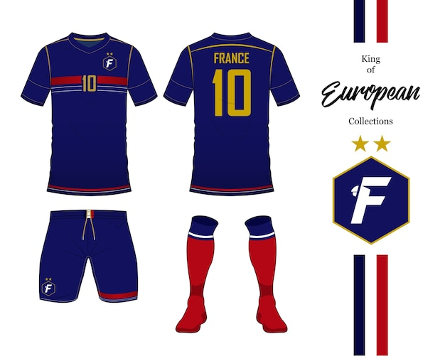 France soccer jersey template