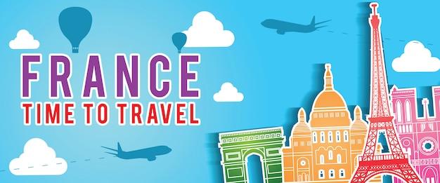 France top famous landmark silhouette style on float island