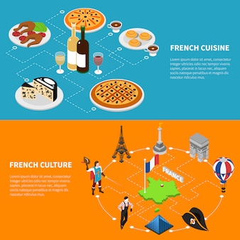 France tourism isometric banners