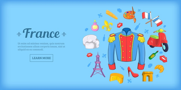 France travel horizontal background, cartoon style