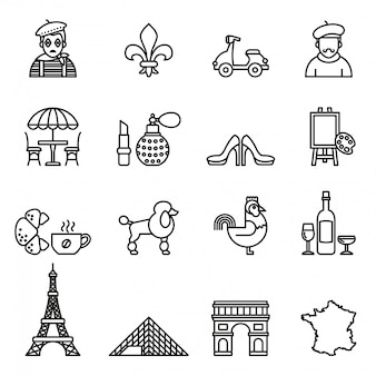 France travel icon set. line style stock vector.
