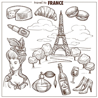 France travel landmark vector sketch symbols