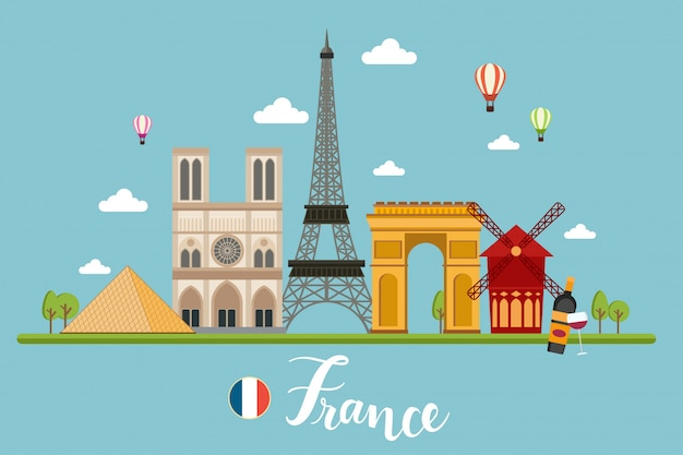 France travel landscapes vector illustration