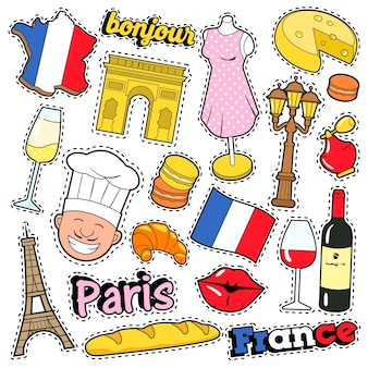 France travel scrapbook stickers, patches, badges for prints with kiss, champagne and french elements. comic style  doodle
