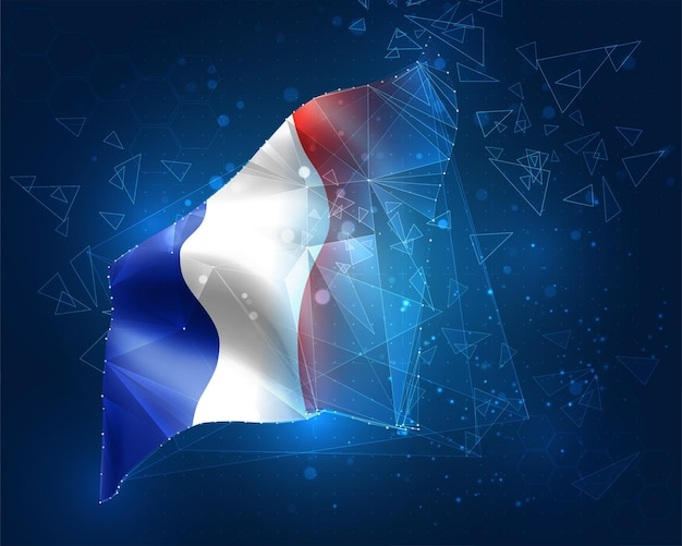 France, vector flag, virtual abstract 3d object from triangular polygons on a blue background