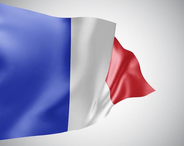 Франция, векторный флаг с волнами и изгибами, развевающимися на ветру на белом фоне.