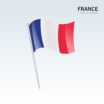 France waving flag isolated on gray background
