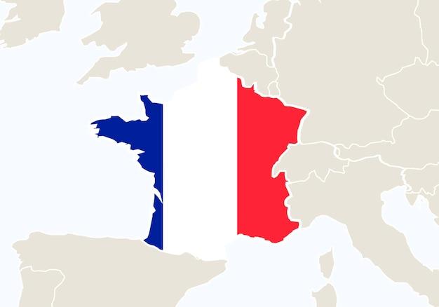 강조 표시 된 프랑스 지도와 함께 프랑스입니다. 벡터 일러스트 레이 션.