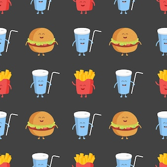 Franch fries, burger and cola seamless pattern. template for kids menu restaurant. vector illustration.