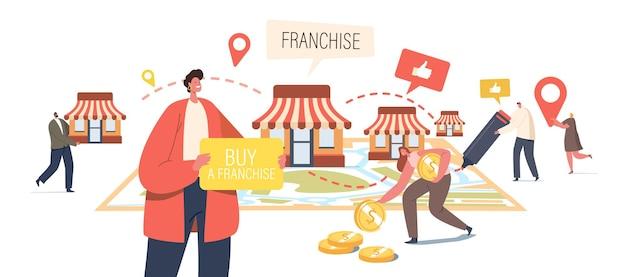 프랜차이즈 비즈니스 개념입니다. 작은 남성 및 여성 캐릭터가 거대한 지도에 키오스크를 배치합니다. 사람들은 홈 오피스, 기업 본부와 함께 소규모 기업, 회사 또는 상점을 시작합니다. 만화 벡터 일러스트 레이 션