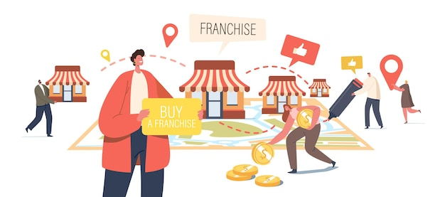 Franchise business concept. tiny male and female characters put kiosks on huge map. people start small enterprise, company or shops with home office, corporate headquarter. cartoon vector illustration